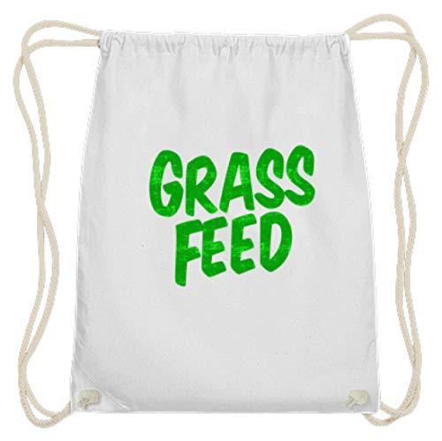 SPIRITSHIRTSHOP Grass Feed, Grass Fed, gras voering, gras, planten, voeding, veganistisch, veganistisch, katoen gymzak