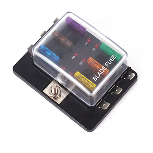 Preisvergleich Produktbild WINOMO 6-fach Klingenblock Sicherungskastenhalter mit LED-Anzeige Schutzhülle für SUV Truck Trailer Marine