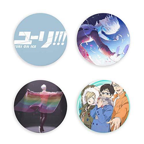 huancheng Yuri On Ice Round Anime - Abrebotellas magnético, imán decorativo para nevera, insignia, multifunción, 4 unidades, bonitos regalos