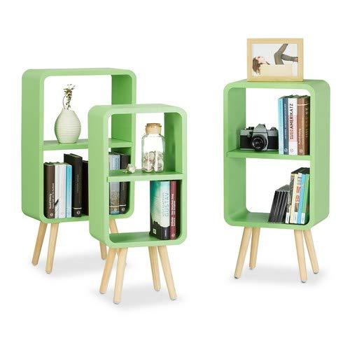 Relaxdays Standregal 3er Set, Wohnzimmerregale zur Aufbewahrung mit je 2 Fächern, MDF Holzregal in 3 Größen, grün