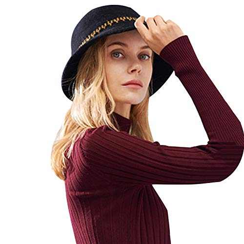 Folding Gorra de pescador de ala ancha clásica para mujer, sombrero de paja Panamá, sombrero de paja de lana, sombrero de fedora, informal, a juego, color negro