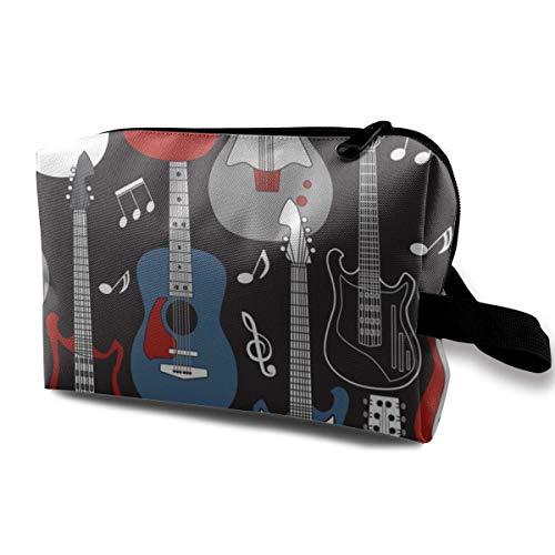 Gitarren auf schwarzer Schminktasche für Frauen Professionelles kosmetisches Reiseset Frauen und Mädchen Hellgrau