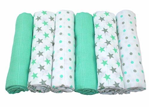 MuslinZ - Juego de 6 paños de muselina para bebé (100% algodón, 70 x 70 cm), color verde