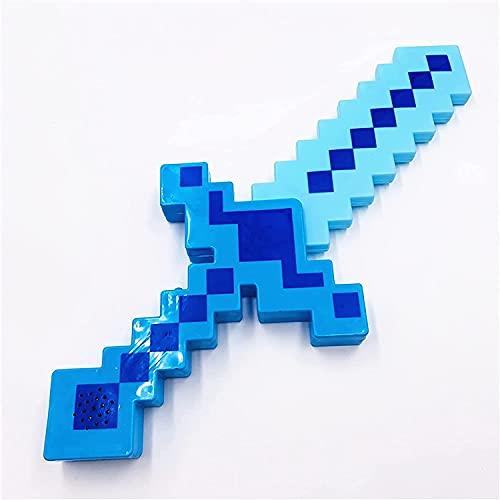 KPTKP Lichtschwert, Kunststoff-Spieldiamantschwert/Spitzhacke/Axt, Sound-Flash-Spielzeug-Schwertmodell, mit authentischen Minecraft-Sounds und leuchtender Action, Action-Abenteuer-Blue||Sword 38cm