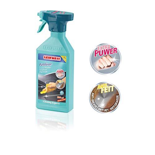 Leifheit Fettlöser Spray 500 ml für alle Küchenflächen, Küchenreiniger für eingetrocknetes und eingebranntes Fett, Entfetter zur Fein- und Grobdosierung