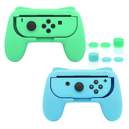 FastSnail Grips Compatible with Nintendo Switch Animal Crossing Joy-Con, Wear-Resistant Handle Kit Compatible with Switch Joy Cons Controllers with 6 Thumb Grips, 2 Pack (Light Green and Light Blue)