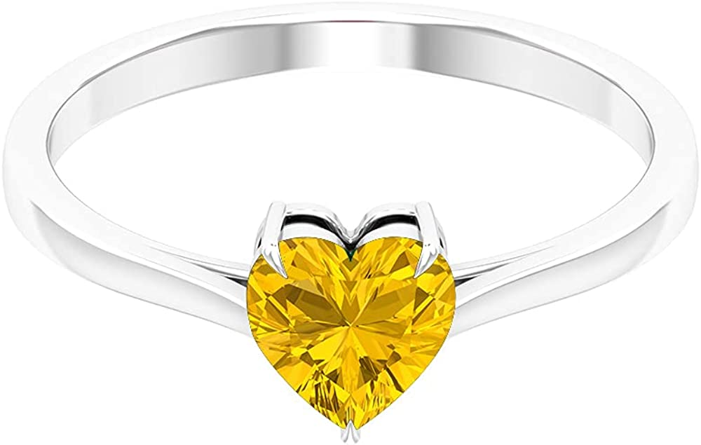 San Antonio Mall 1 CT Under blast sales Claw Set Created Yellow Sapphire Ring Promise Solitaire for