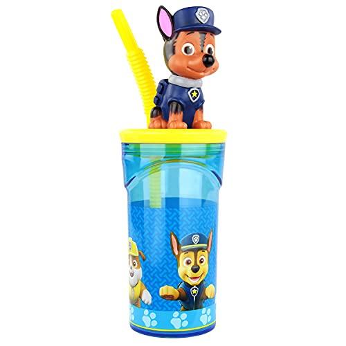 POS 29442 - Trinkbecher mit Strohhalm und 3D Figur, im beliebten Paw Patrol Design, Fassungsvermögen circa 360 ml, aus Kunststoff bpa- und phthalatfrei, für Jungen und Mädchen