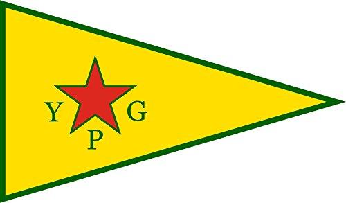 Diplomat magFlags Raum-Fahne mit modernem verchromtem Fahnenständer und Marmor-Fuß   Flagge: People s Protection Units   People s Protection Units YPG ; Official Armed Wing of The Kurdish Supreme C