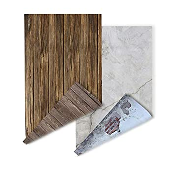 2-Pack 4 Patterns ins Style Photography Background Jewelry Shops Photos Food photoshoots Backdrop Rustic Wood Grain Retro Shabby Chic Broken Grunge Concrete Wall YouTube Video displaying Background