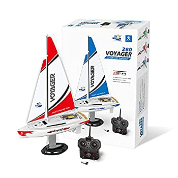 PLAYSTEAM Mini Voyager 280 RC Controlled Wind Powered Sailboat in Red - 14  Tall