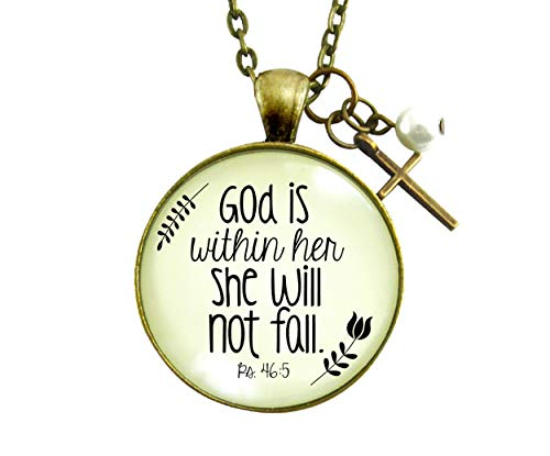 """Gutsy Goodness 24"""" God is Within Her Woman of Faith Necklace Meaningful Psalm"""