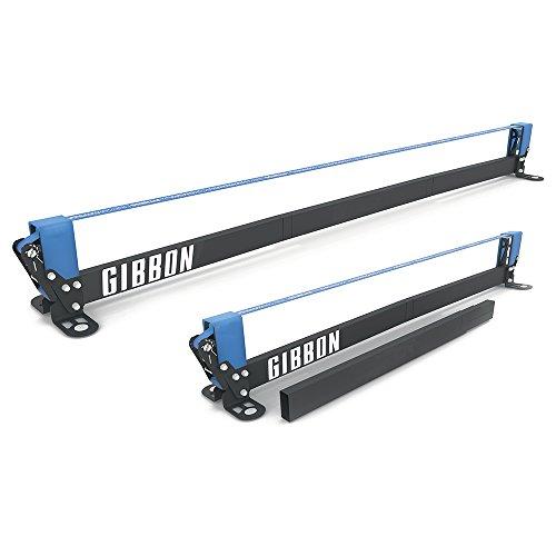Gibbon Slacklines Slackrack Fitness Edition, grau/blau, Aufbaulängen: 2 oder 3 Meter, mit 2 Handgriffen, Stretchband und Übungsposter, Höhe: 30 cm, Breite: 2 Inch 5 cm