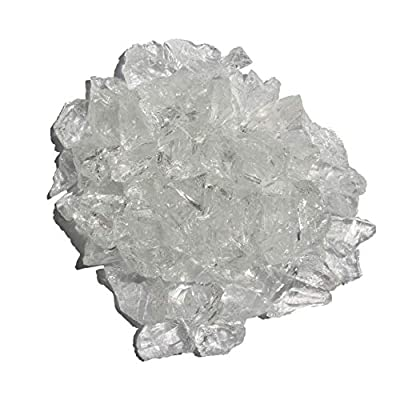 Hiland Fire Pit Fire Glass in Ice Clear, Extreme Tempature Rating, Good for Propane or Natural Gas, 10 Pounds