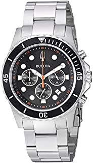 Bulova - Reloj de cuarzo para hombre, de acero inoxidable, color plateado, modelo 98B326