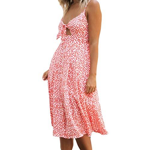 Guoyy - Vestido de Verano sin Mangas, Cuello en V, para Mujer, con Pajarita y Espalda Desnuda Naranja L