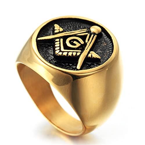 FLQWLL Anillo Masónico Chapado En Oro De 14 Quilates Plata Acero Inoxidable Anillo De Sello Ovalado Negro para Hombre,Oro,9