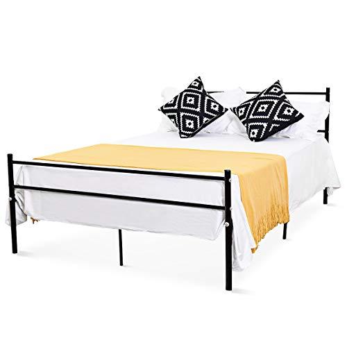 COSTWAY Metallbett schwarz, Doppelbett Metall, Bettgestell, Gästebett 196 x 142cm