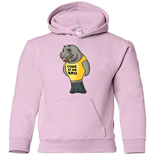 Manatee Come at Me Bro Commercial Novelty Hoodie for Men Women Boys Girls (Light Pink, Kids 14-16/Youth L)
