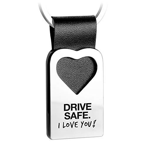 FABACH Herz Schlüsselanhänger mit Gravur aus Leder - Auto Glücksbringer Anhänger Fahr vorsichtig - Drive Safe I Love You