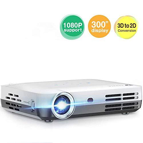 AI LIFE Beamer 10000 Lumen Mini-Projektor LED DLP 1280x800 Real Heimkino-Videoprojektor Drahtlose Bildschirmfreigabe unterstützt 1080P 3D zu 2D HDMI 300 ''für Filme, Sport, Gaming