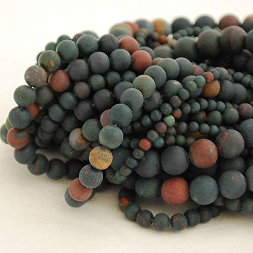 Haute qualité Grade A Naturel Bloodstone givré/mat Pierre précieuse de pierres semi-précieuses Perles rondes – 4 mm, 6 mm, 8 mm, 10 mm Tailles, approx 6mm (65-68 beads)