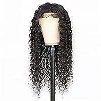 MXRLZX 13 x 4レースフロントウィッグ、ウォーターウェーブ、人間の髪、女性のかつら、8-24インチ、自然な黒 (Size : 16 inch)