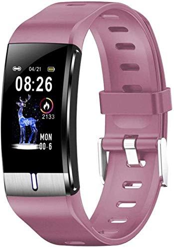 Pulsera inteligente multifunción reloj de pulsera de grasa corporal medición de presión arterial y monitor de frecuencia cardíaca PPG reloj actividad fitness tracker pulsera-Negro-Rosa