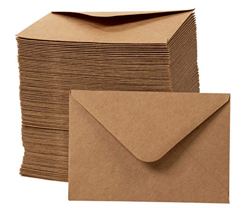 Mini Envelopes - 250-Count Gift Card Envelopes Kraft Paper Business Card Envelopes Bulk Tiny Envelope Pockets for Small Note Cards Brown 4 x 2.8 Inches