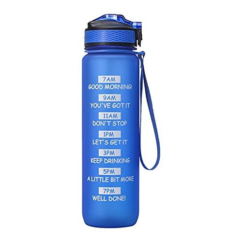 Botella de Agua de 1000 ml, Botella de Agua de 1000 ml con Boquilla Taza de Agua Motivacional con Marcador de Tiempo y Hebilla Hervidor de Agua Tritan a Prueba de Fugas para Acampar al Aire Libre