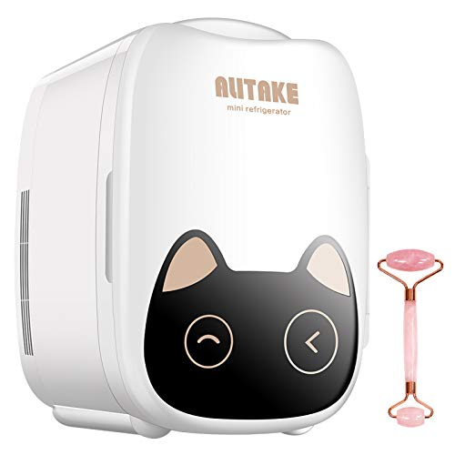 Mini Fridge, Alitake Skincare Fridge Portable Cooler and Warmer Beauty Fridge with Jade Roller for Home, Bedroom, Travel, Skincare, Makeup, Breast Milk(6Liter/8Can, AC/DC)