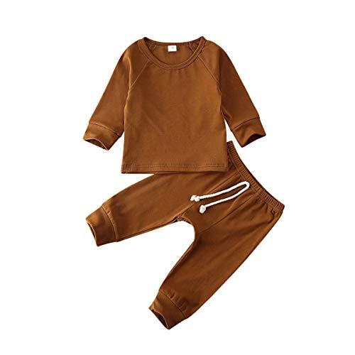 Fiomva Neugeborene Baby Jungen Mädchen Kleidung Outfit Langarm Baumwolle Hemd Bluse Tops Harem Kordelzug Hose Leggings Sets Gr. 86, braun