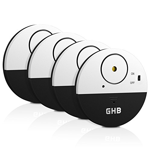 GHB 4 pcs Window Alarm Vibration Shock Sensors Home Security with Loud 100dB for Window Door Cabinet Black