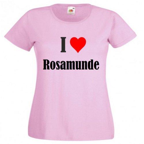 Damen T-Shirt I Love Rosamunde Größe M Farbe Pink Druck Schwarz