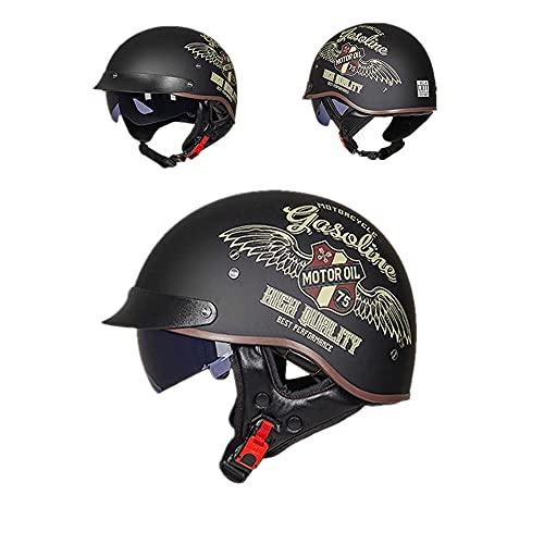 ZHUANG Motorradhelm Mit Visier ECE/DOT Zertifiziert Für Herren Und Damen,Mofa-Helm Retro Motorrad Half Helm Mit Built-in Visier Für Cruiser Chopper Biker (Locomotive Girl,M(57-58cm))