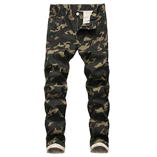 Beastle Pantalones Vaqueros con Estampado de Camuflaje elástico para Hombre 34