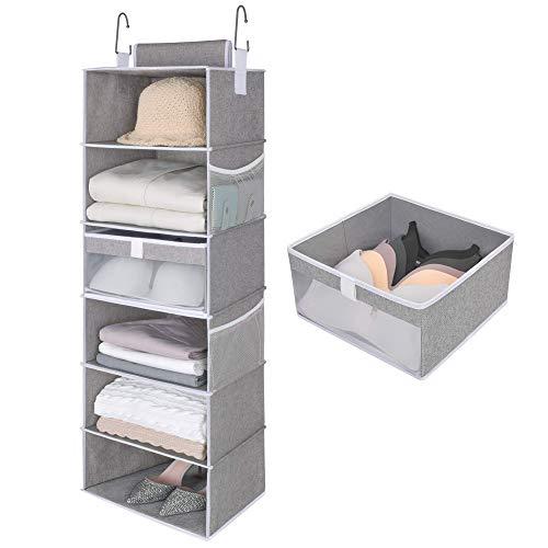 StorageWorks 6-Shelf Large Hanging Closet Shelves Hanging Closet Organizer with 1 Drawer Canvas Gray 136 W x 122 D x 425 H