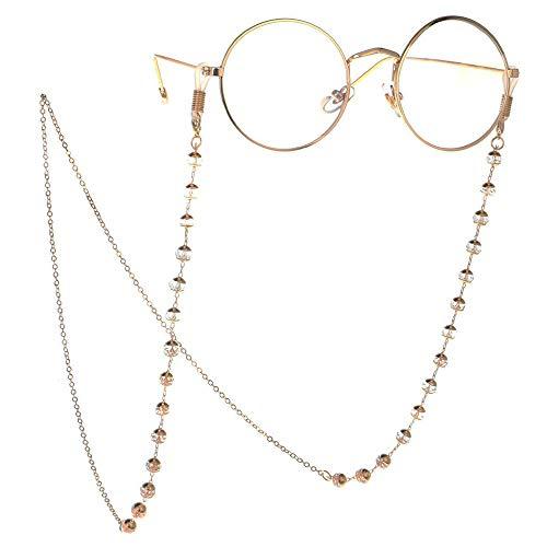 Gläser Kette Brillen-Kette High-End-reales Gold überzogene Kette Gold transparent Kristallrutschhemmende Gläser Kette Sonnenbrille Accessoires Lesebrillen Hals Seil Lesebrille Hals Seil