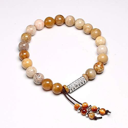 WSJKL Pulsera de Piedras Preciosas Naturales Pulsera para Hombres Mujeres Tibetan Om OM Yoga Pulseras 8mm Coral Jade Crisantemo Joyería de Borla