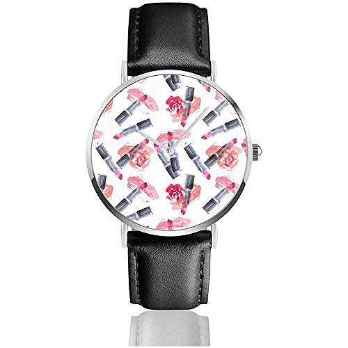 Rot, rosa Lippenstift mit Abstrich und Rose Blume Nahtlose Muster Lederband Armbanduhren lässig Klassische Edelstahl Quarzuhr