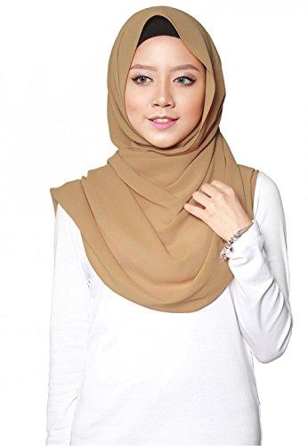 SAFIYA SAFIYA - Hijab Kopftuch für muslimische Frauen I Islamische Kopfbedeckung 75 x 180 cm I Damen Gesichtsschleier, Schal, Pashmina, Turban I Musselin / Chiffon - Braun