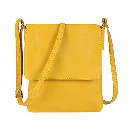 OBC Made in Italy Damen Leder Tasche Umhängetasche Crossbody Schultertasche Abendtasche Vera Pelle Schmucktasche (Gelb)