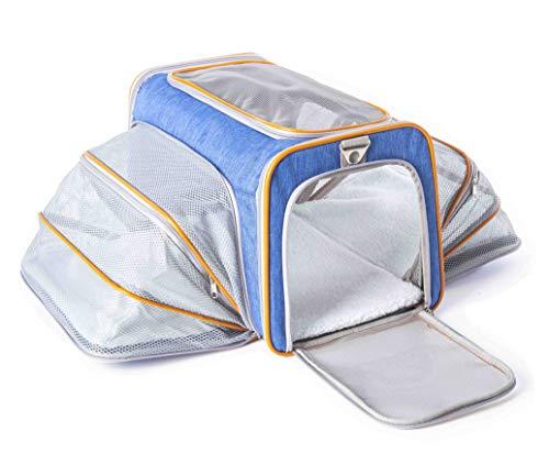 ABISTAB Hundebox faltbar Transportbox Hunde und Katze Transporttasche für Auto- und Flugreisen geeignet Tragetasche Maxi 72cm zweiseitig ausklappbar mit Langer Shultergurt:4-Blau-Orange