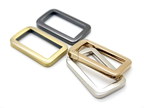 CRAFTMEMORE Metal Flat Rectangle Rings Buckle for Bag Belt Strap Heavy Duty Loop Quality Finish 6 Pack VTLP (1 Inch (25 mm), Gunmetal)