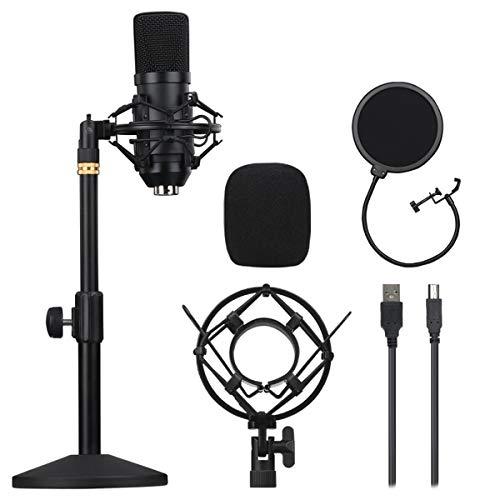 Harsso Microfono a Condensatore USB, Mico Cardioide Professionale per PC, Supporto Antiurto, Filtro Anti-Pop, per Gaming, Registrazione, Podcast, Skype, YouTuber, Home Studio