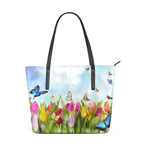 Womens Purse Tulip Flowers With Butterflies In Garden PU Leather Shoulder Tote Bag Bolso de hombro Backpack Ladies Travel Shopping Bags