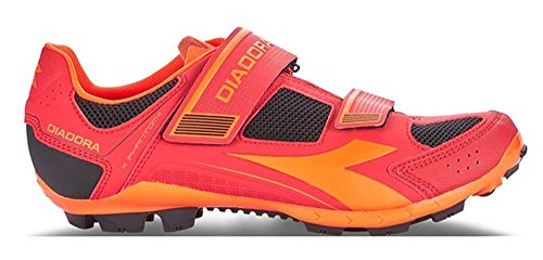 Diadora X Phantom II, Zapatillas de Ciclismo de montaña. Unisex Adulto, Multicolor Racing Red Fluo Red 6536, 43 EU