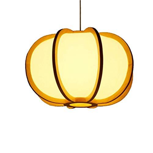 Lámpara de techo Allshiny Retro Estilo rústico de madera Lámpara colgante Creative Loft Bar Lámpara colgante Calabaza redonda Fleece Lámpara colgante Arte de la vendimia Salón Comedor Estudio Iluminac