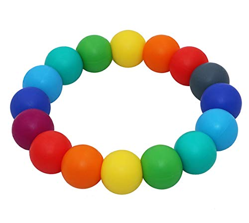 Sensory Teething Bracelet for Infants Toddler, Silicone Chew Bracelet for Kids Baby Chewing Biting, Chewable Beads Teether Toy for Boys Girls with Autism ADHD SPD Anxiety or Special Needs