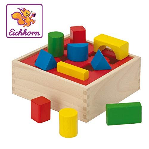 Eichhorn 100011702 - Steckbox mit 10 Steckelemente in verschiedenen Farben & Formen, 17x17x7cm, 12-tlg., FSC 100% Zertifiziertes Buchenholz, Made in Germany